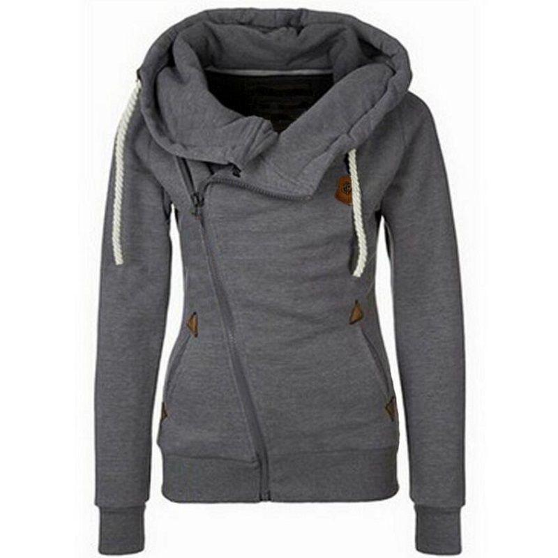 New Arrival Autumn Winter Solid Women Hoodies Sweatshirt Zipper Design Hoody <font><b>Thicken</b></font> Hoodie Tracksuit Women 2018 Hot Sale