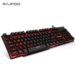 RAJFOO English Wired Gaming Keyboard with 3 Colors LED Backlit light Float Keycap for Desktop Laptop Macbook USB Teclado Gamer