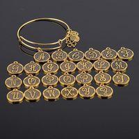 Fábrica pulsera extensible oro antiguo A-Z letra inicial encanto pulsera ajustable alambre Wrap brazalete