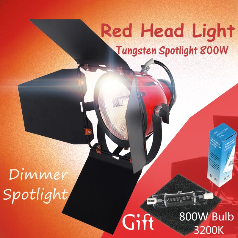 ASHANKS 800W Studio Video Red head Light with Dimmer Continuous Lighting + Bulb Free Shipping