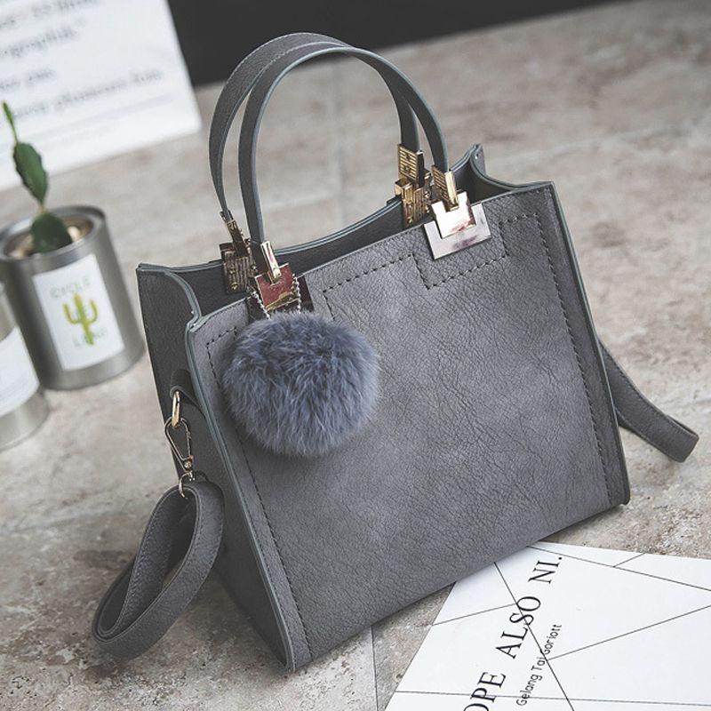 LANLOU sac à main femmes sac à bandoulière sacs à main de luxe sacs pour femmes designer de Haute qualité Gommage sac de messager en cuir Boule de Poils sac pour femme