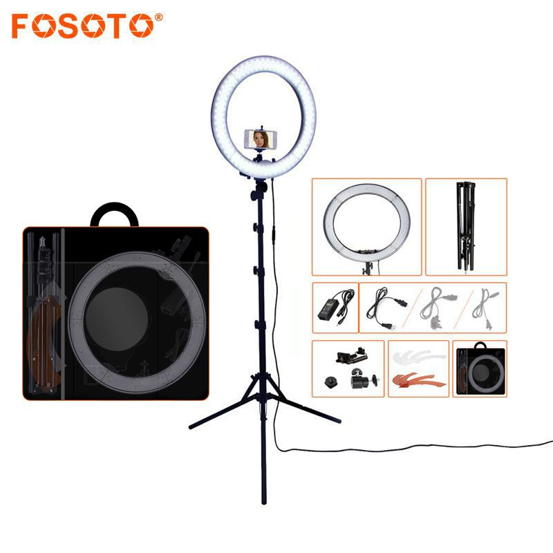 FOSOTO RL-18 240LED 5500K Dimmable Photography/Photo/Studio/Phone/Video Ring Light <font><b>Lamp</b></font>&Tripod Stand For Canon Nikon Dslr Camera
