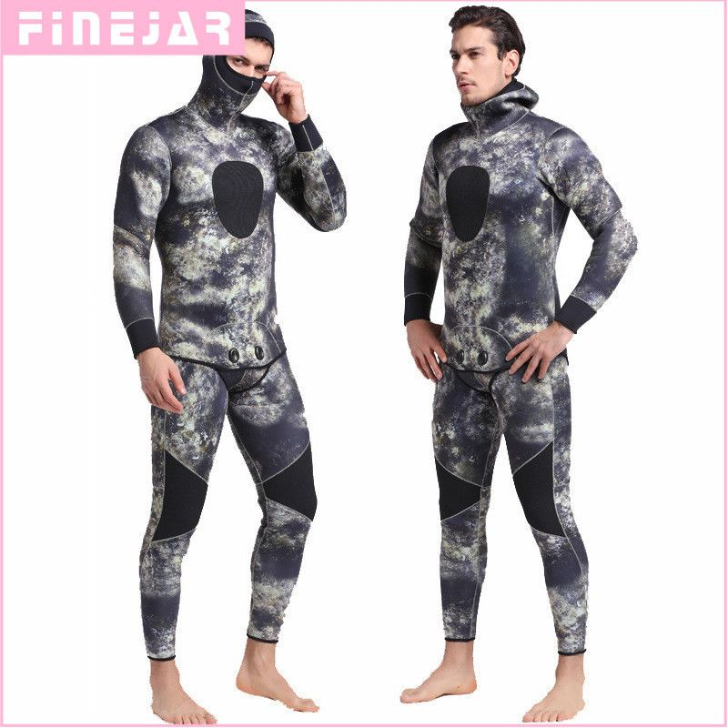 5mm Neoprene Two Pieces Full Suit Men Plus Size Diving Wetsuit Keep Warm Blind Stitching Jumpsuit Surfing Suit Camouflage Green