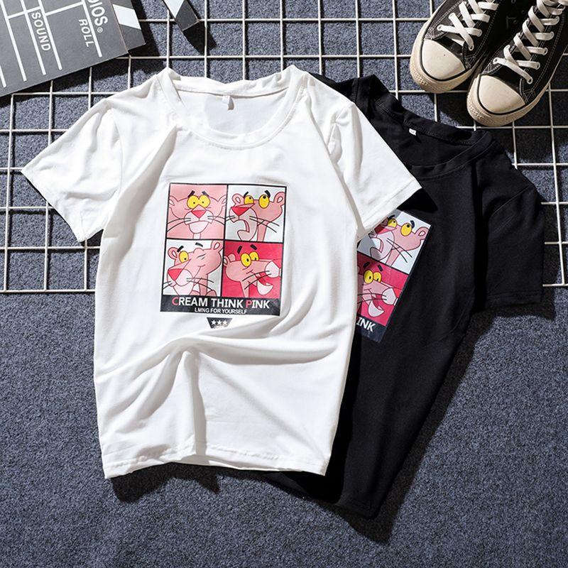 JIANWEILI Summer T shirt women Pink Panther printing loose casual harajuku T-shirt Short Sleeves tshirt Tops Tee plus size shirt