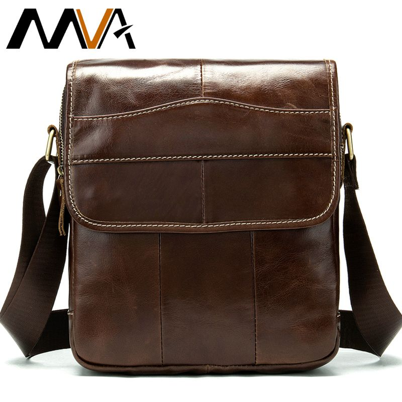 MVA Messenger Bag Men's Shoulder Bag Men's Genuine Leather Crossbody Bags for Men Leather Casual Small Flap for ipad/ <font><b>book</b></font> 1121