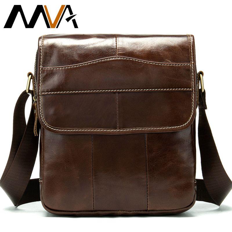 MVA Messenger Bag Men's Shoulder Bag Men's Genuine Leather <font><b>Crossbody</b></font> Bags for Men Leather Casual Small Flap for ipad/ book 1121