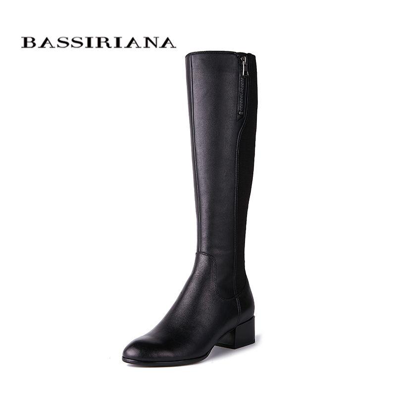 BASSIRIANA nouveau 2018 véritable En Cuir de haute bottes Tuyau de Poêle stretch pour mince jambe Chaussures femme Printemps 35-40 Noir Livraison gratuite