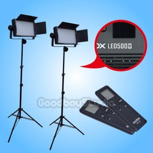 2PCS Godox LED500W 5600K LED Video Light Lamp Panel + 2M Light Stand Lighting Kit