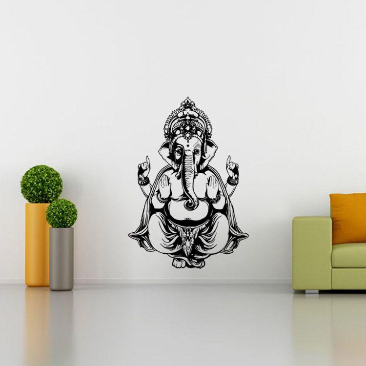 Mandala sticker mural indien rond motif symbole Ganesha art créatif peintures murales décoration de chambre vinyle salon autocollant