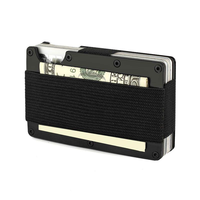Porte-carte de crédit en Aluminium de voyage d'aviateur de portefeuille en métal de Rfid avec l'agrafe de portefeuilles d'argent