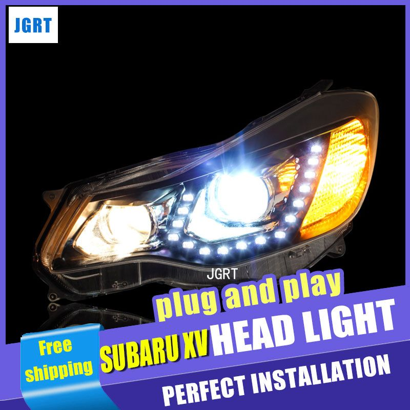 Car Styling For Subaru XV headlight assembly 2012-2015 For XV LED head lamp Angel eye led DRL front light H7 with hid kit 2pcs