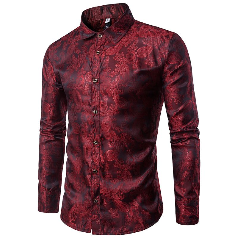 Bright Silk Shirts Men 2017 <font><b>Promotion</b></font> Autumn Long Sleeve Casual Cotton Flower Shirts for Men Designer Slim Fit Dress Shirts