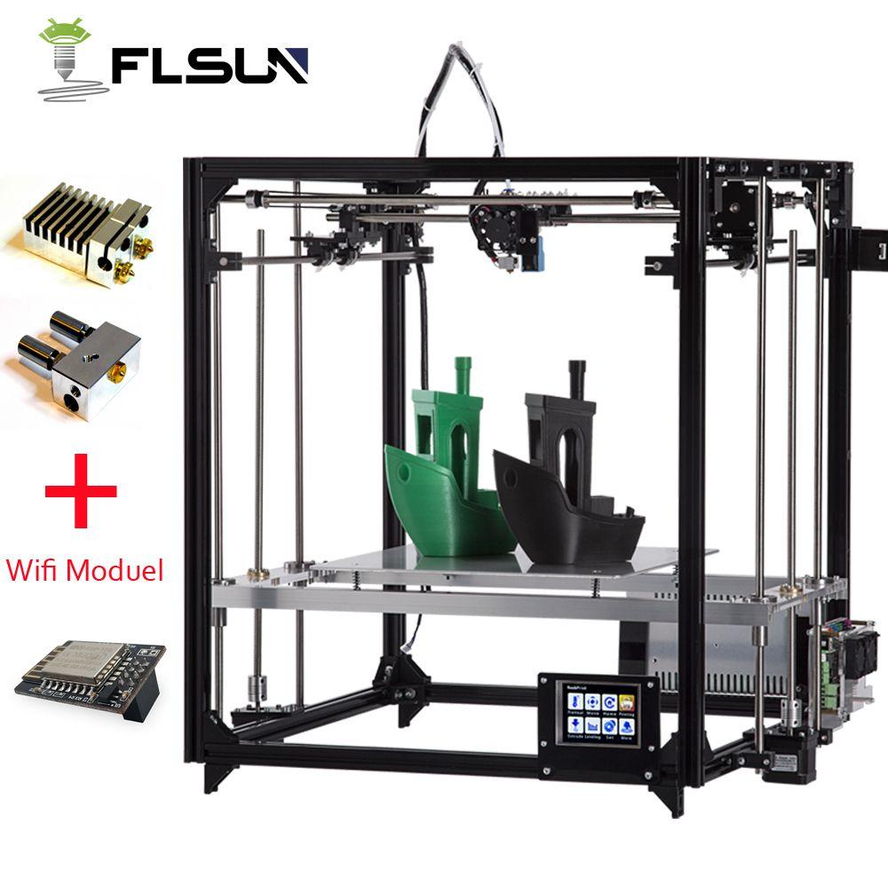 Flsun 3D-принтеры комплект Большая площадь печати 260*260*350 мм Сенсорный экран двойной экструдер алюминия Рамки 3 D принтер с подогревом кровать