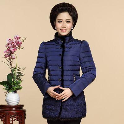 Edredones de invierno elegante capa de la chaqueta de las mujeres de mediana edad madre abrigo de invierno acolchada chaqueta de abrigo mujer de mediana edad delgado capa de la manera