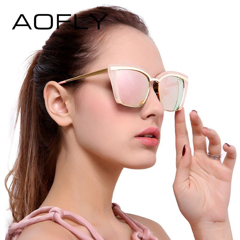 AOFLY Moda Gafas de Sol Mujeres Medio Capítulo 2017 Primera Marca de Lujo Gafas de Sol de La Vendimia Gafas Protección UV400 AF7905