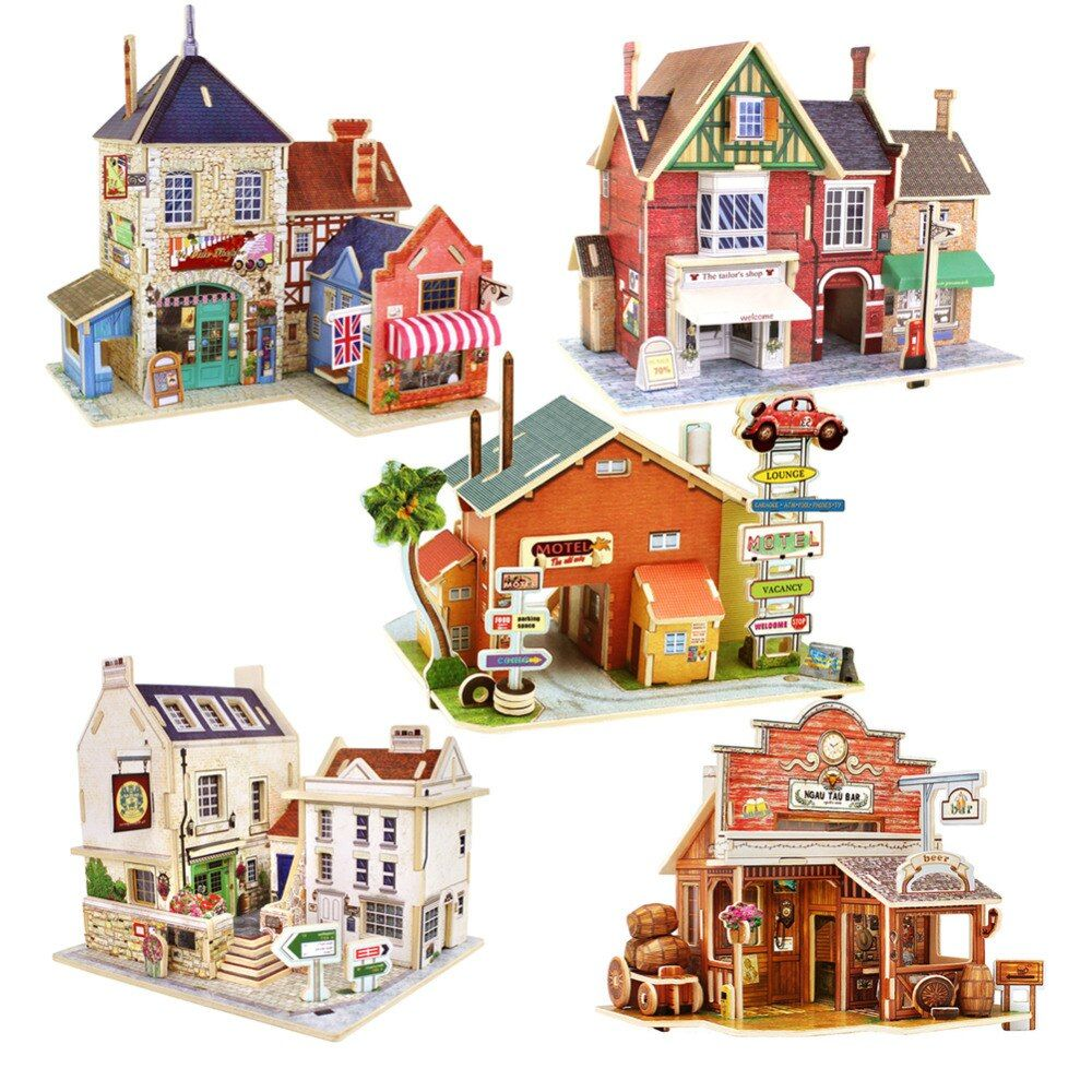 Niños Juguetes Jigsaw Puzzle 3D de Construcción de Viviendas Chalets De Madera Juguetes para Niños Rompecabezas Del Bebé de Juguete de Madera Montessori Juguetes brinquedos