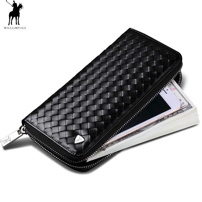 Echtes Leder Brieftasche Männer Woven Design Wenig Logo Kupplung Tasche Mode Geld Fall Tasche Schwarz Zipper Lange Brieftasche Elite polo124