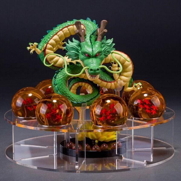 Dragon Ball Z Figurines Shenron Action Figure Shenlong Dragon Ball With Balls Set + 7PCS <font><b>Crystal</b></font> Dragonballs + Acrylic Shelf