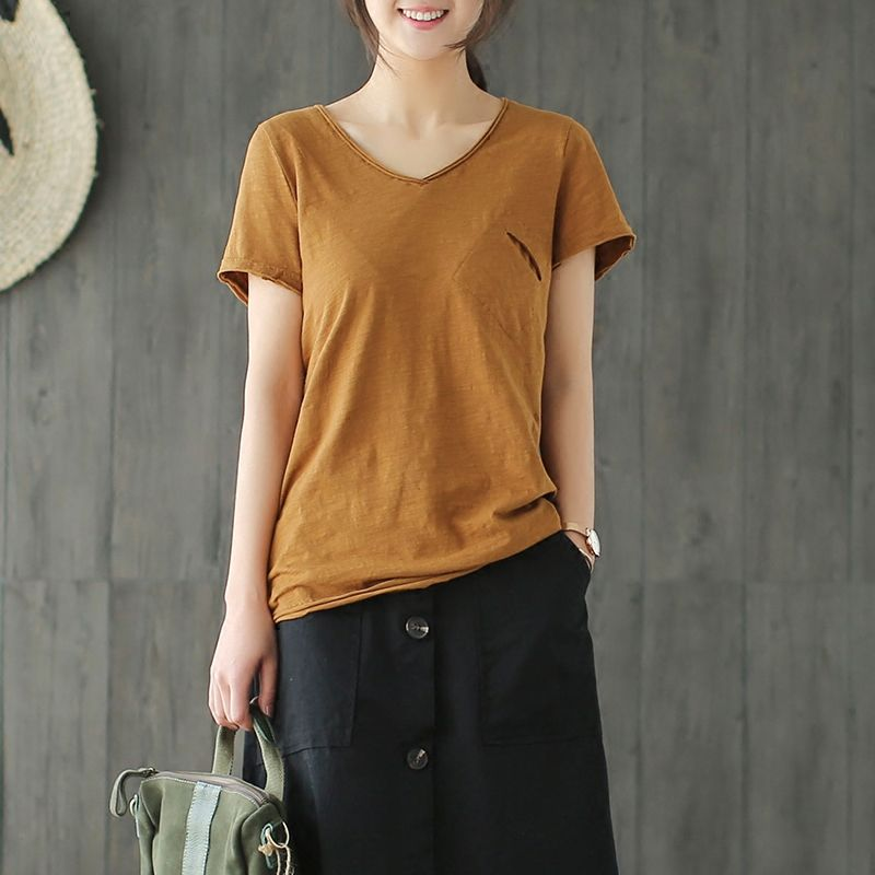 Round-necked Slub T-shirt With Bamboo Slub And Cotton T-shirt With Small Ears