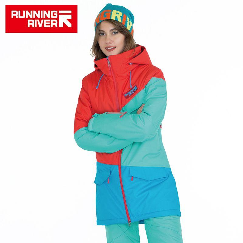 FLUSS Marke Frauen Snowboard Jacken Für Winter Warmen Mitte oberschenkel Outdoor-bekleidung Hochwertigen Sportjacke # A6042