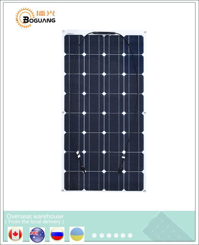 Boguang 16V 100W house <font><b>flexible</b></font> Solar Panel cell board fishing boat RV 100watt solar plate cells system kits power charger