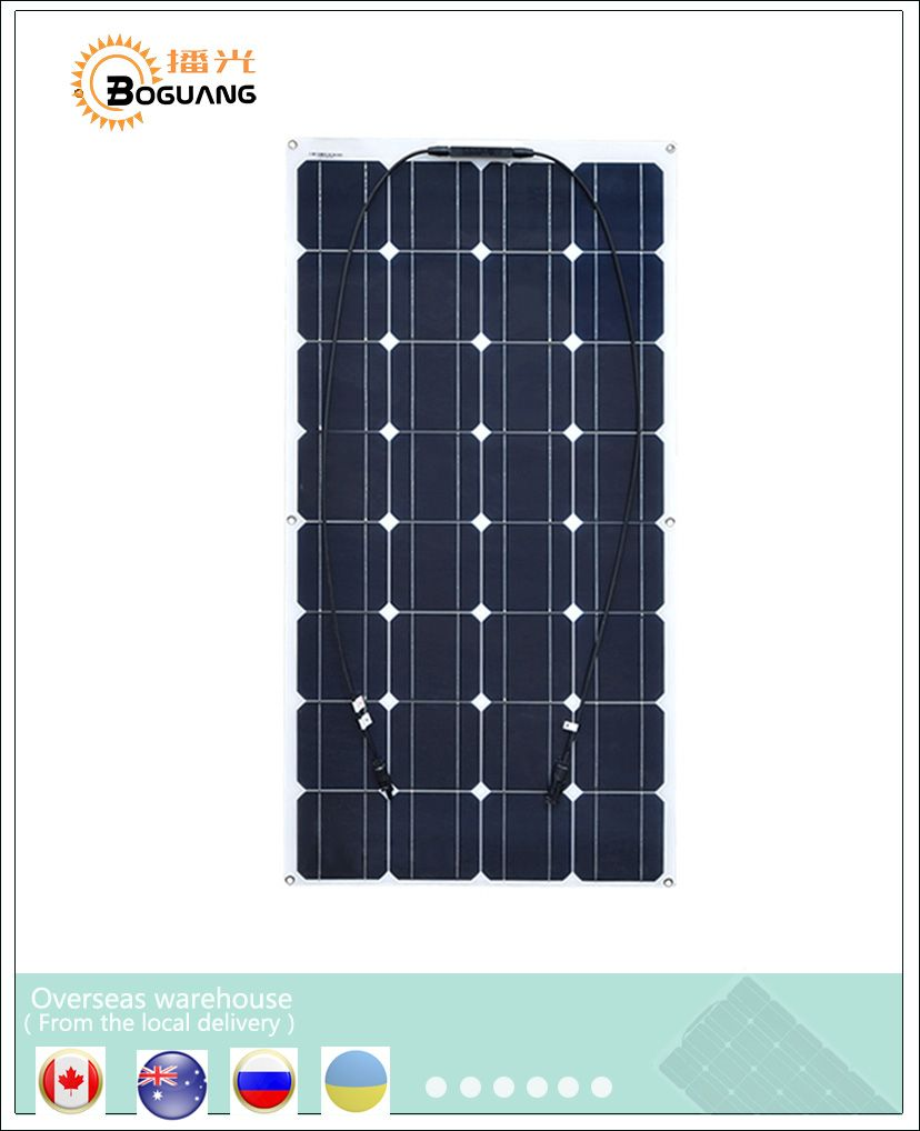 Boguang Low Price Ultrathin Flexible Mono PV Solar Panels 100wp 16V 100W Solar Panel plate house board fishing boat 100 watt