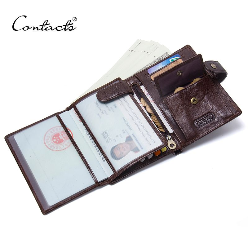 CONTACT'S Leather Wallet Luxury Male Genuine Leather Wallets Men Hasp Purse With Passcard Pocket and Card Holder High Quality