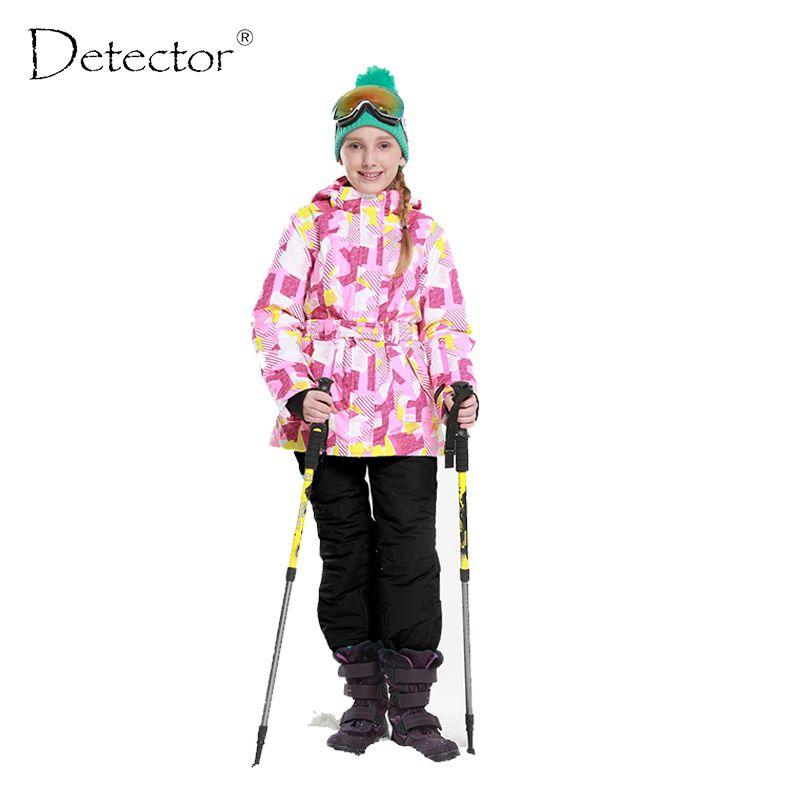 Детектор 2016 Обувь для девочек лыжный комплект Зима Теплая Лыжная куртка chilldren открытый Водонепроницаемый ветрозащитный Сноуборд костюм
