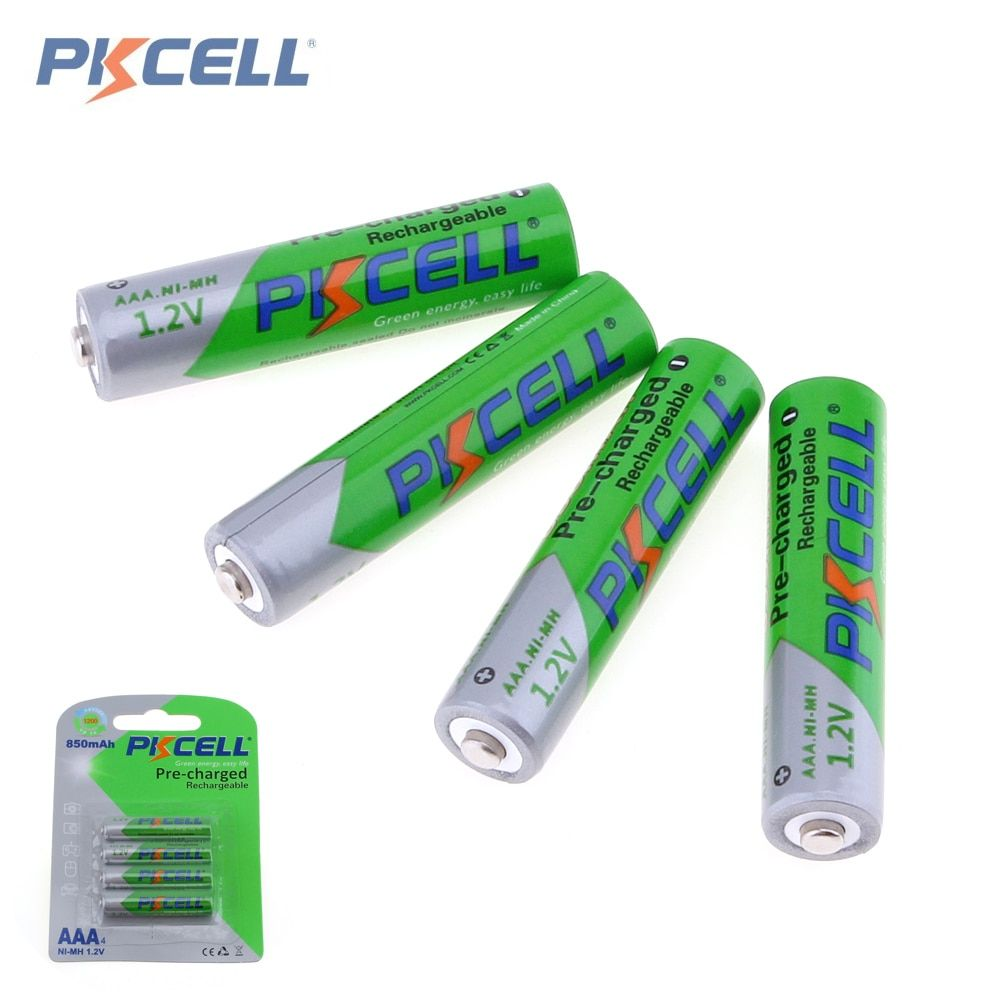 PKCELL 4 pièces 1.2 V AAA 850 mAh Batteries NI-MH AAA Batteries Rechargeables 3A Bateria Baterias