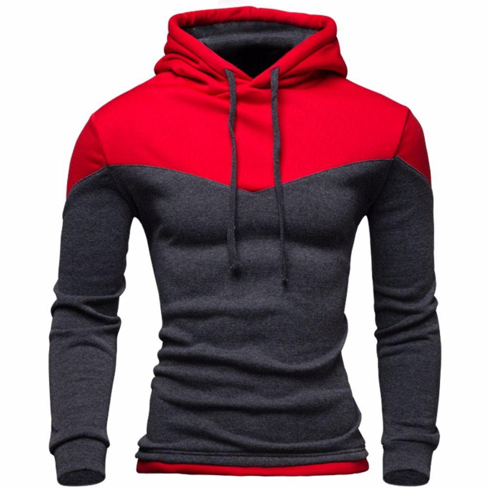 Nouveau sweat à capuche pour homme 2016 hiver mâle sweat adolescent décontracté Cardigan à capuche veste automne manteau Slim Patchwork couleur