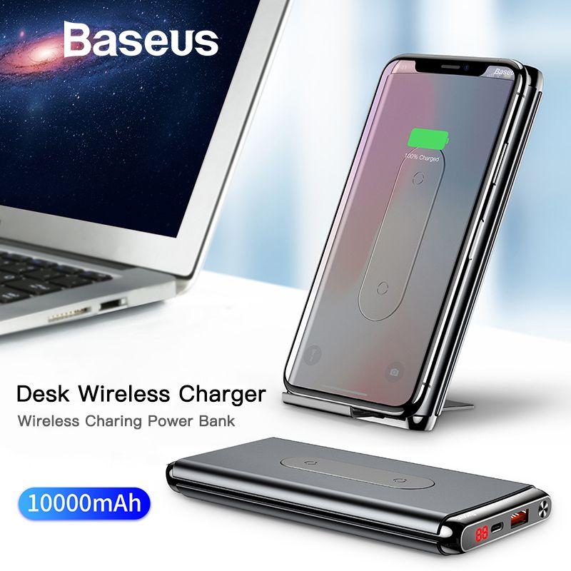 Baseus 10000 mAh QI Drahtlose Ladegerät Power Bank Für iPhone Samsung PD + QC3.0 Schnelle Lade USB Power Externe Batterie pack