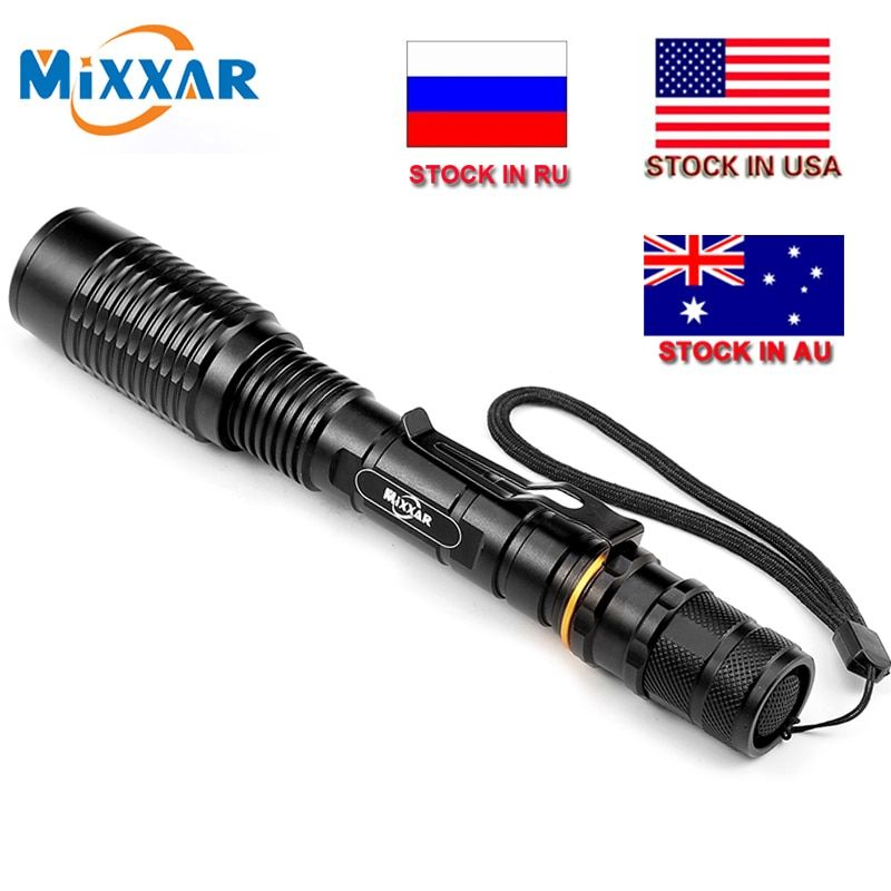 CZK20 lampe de Poche LED V5 T6 8000LM 5-Modes Zoom Torche torches tactiques Lampe peut être utilisée avec deux 18650 batteries