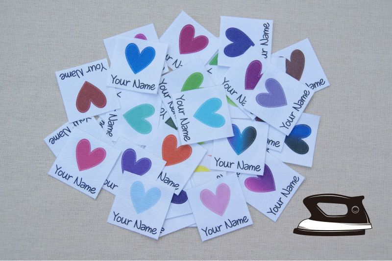84 Personalized Clothing <font><b>Labels</b></font> for Kids with Hearts (custom name tags)