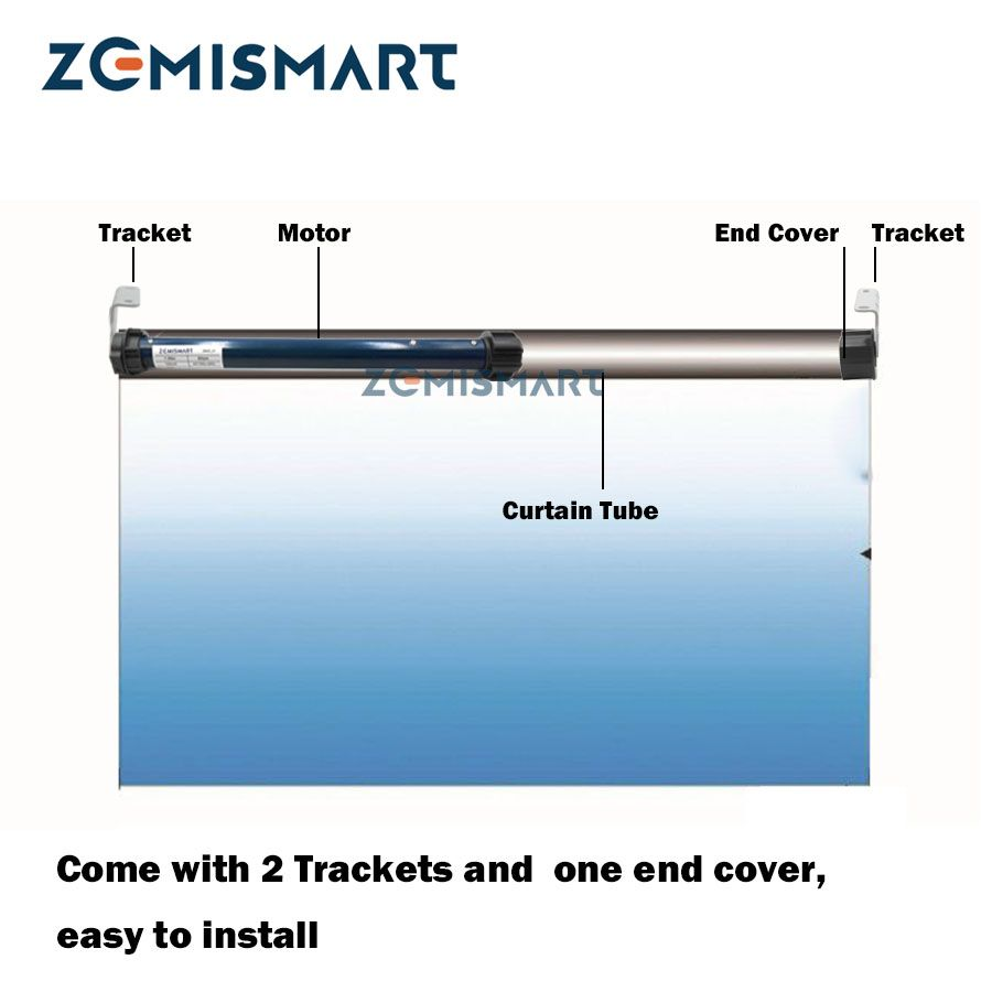 Zemismart 25mm Automatic Motor Work with Broadlink for 38mm Roller Shutter Curtain RF433 with Remote