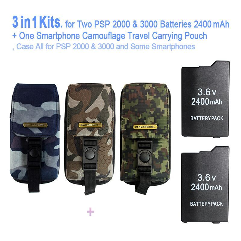 Game accessories for Two PSP Batteries ( 2400 mAh ) + One PSP Camouflage Travel Carrying Pouch, Bag For All SONY PSP-2000,3000