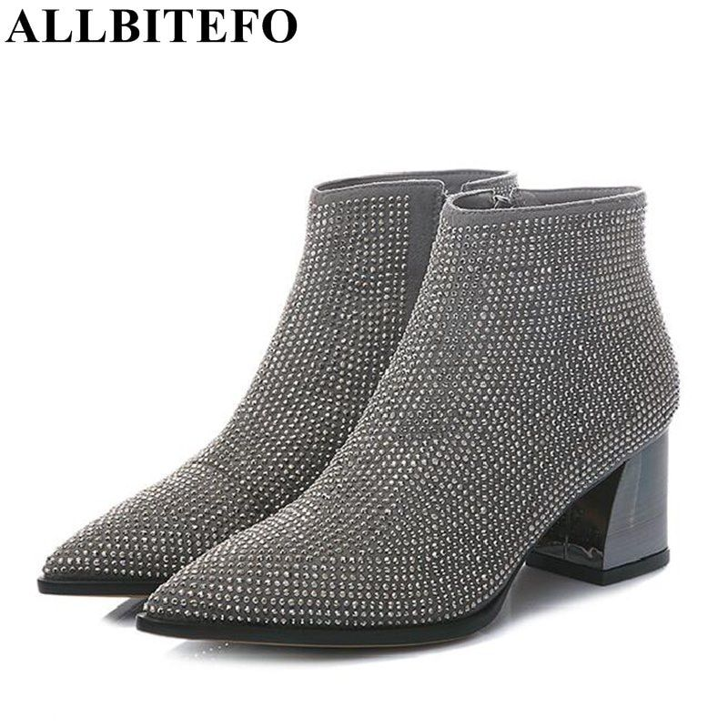 ALLBITEFO thick heel genuine leather+pu pointed women boots fashion brand Rhinestone medium heel winter ankle boots woman