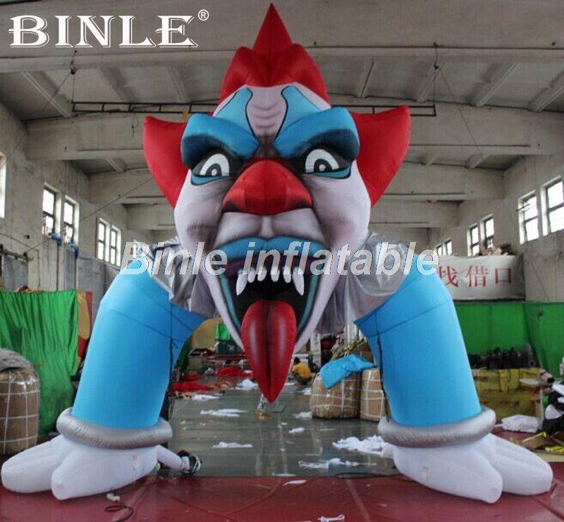 Heißer verkauf 5x5 m riesen luftdurchblasen clown gesicht aufblasbare halloween torbogen für hof dekorationen