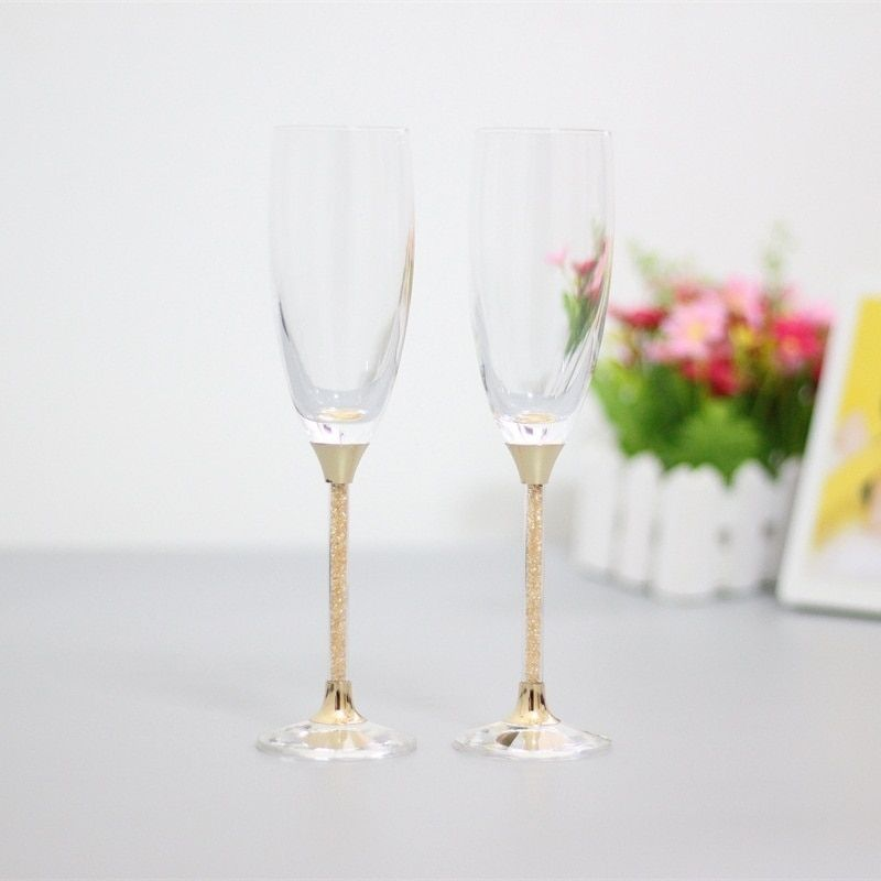 fashion toasting wedding glasses crystal champagne flutes for bride and groom drinking wine glass for lovers gifts