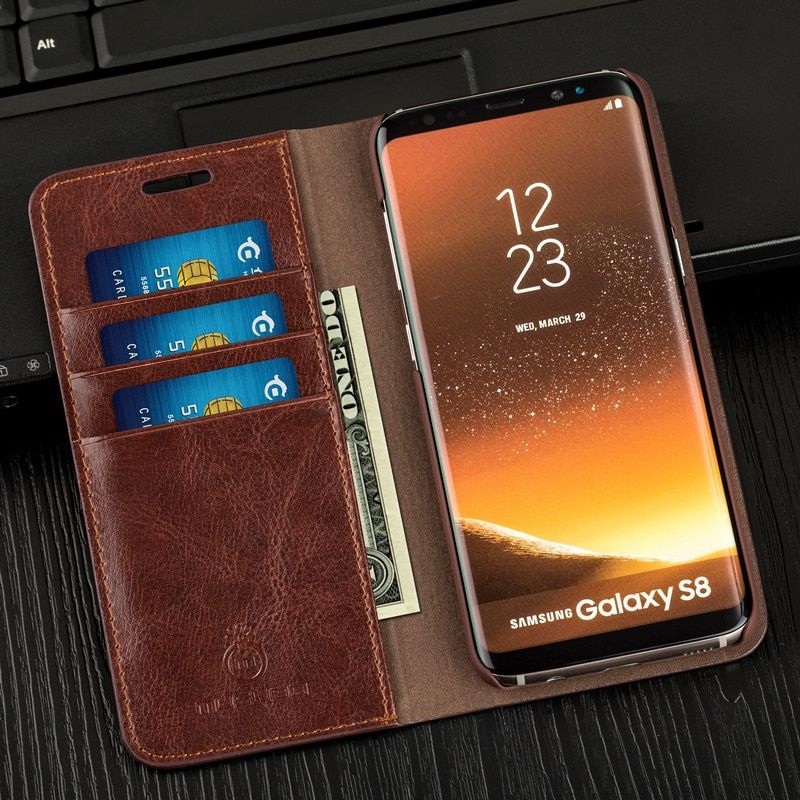 Musubo Business Luxury Case For S8 Genuine Leather Flip Cases Cover for Samsung <font><b>Galaxy</b></font> Note 8 5 Wallet Bag S9 Plus S7 Edge S6 S5