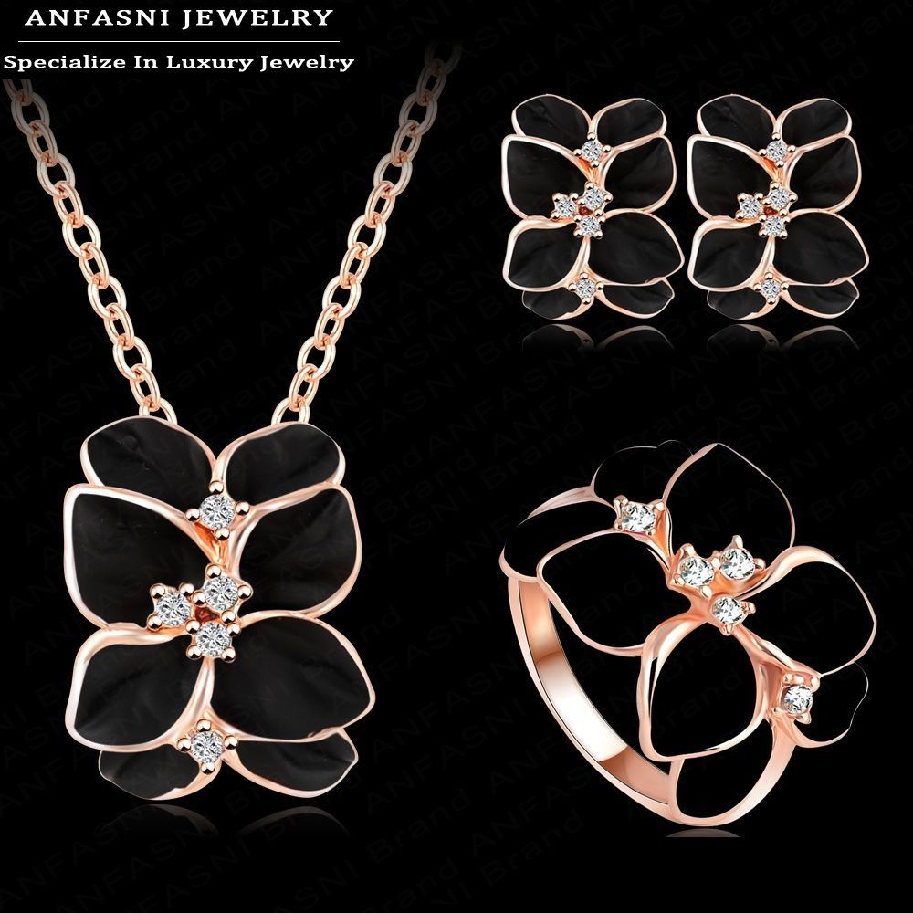 ANFASNI Jewelry Set Rose Gold Color Austrian Crystal Enamel Earring/Necklace/Ring Flower Set Choose Size of Ring ST0002-A