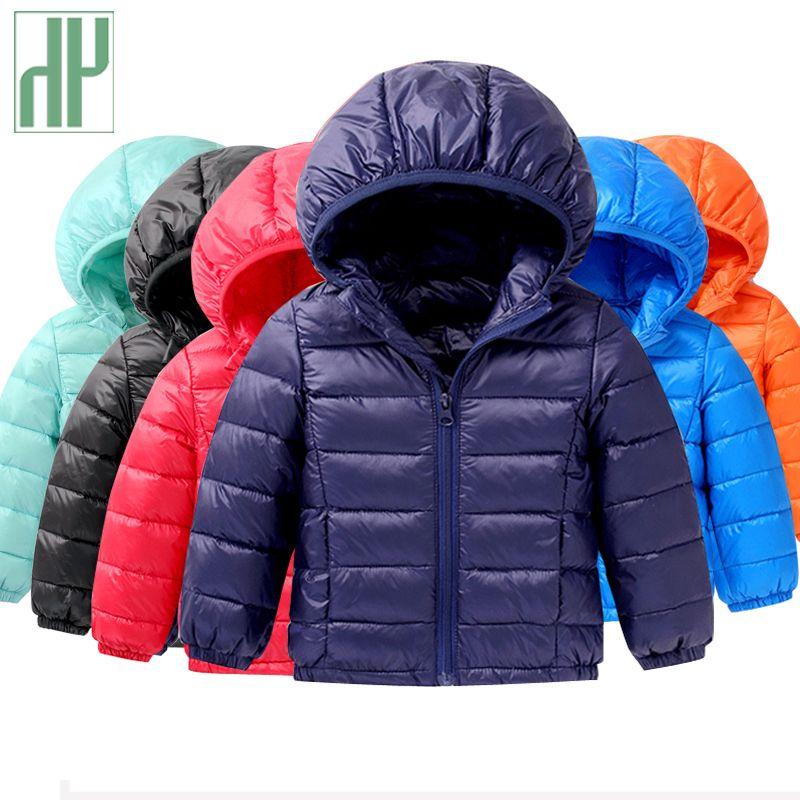 HH 1-5Y de Lumière enfants hiver vestes Enfants 90% Duvet de Canard manteau Bébé Veste D'hiver Pour Les Filles parka Survêtement Hoodies Garçon manteau