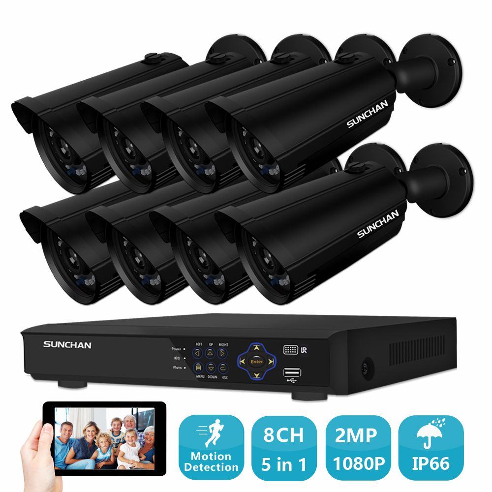 SUNCHAN 8 Channel AHD 1080P Video Security DVR Surveillance Camera Kit 8x 2.0MP Outdoor IR Weatherproof Cameras NO HDD