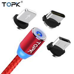 Topk 1 m y 2 m LED magnética y cable micro USB Cable y USB tipo C cable nylon trenzado tipo C cable cargador USB-C