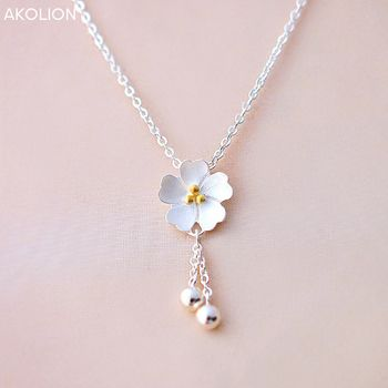 AKOLION Silver Sakura Flower Necklaces Pendants Cherry Blossoms With Chain Choker 925 Necklace Fashion Jewelry