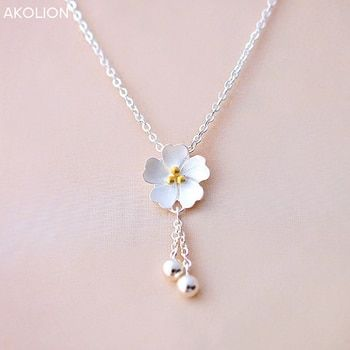 AKOLION Silver Sakura Flower Necklaces Pendants Cherry Blossoms With Chain Choker 925 Necklace Sterling Jewelry