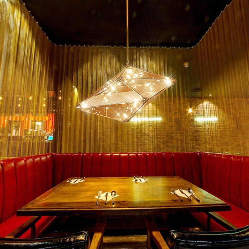 TZ Diamond Pendant Light Art DecoAmber Smoked LED Pendent Lamp for Restaurant Lamparas Colgante Moderna Luminaria Pendente