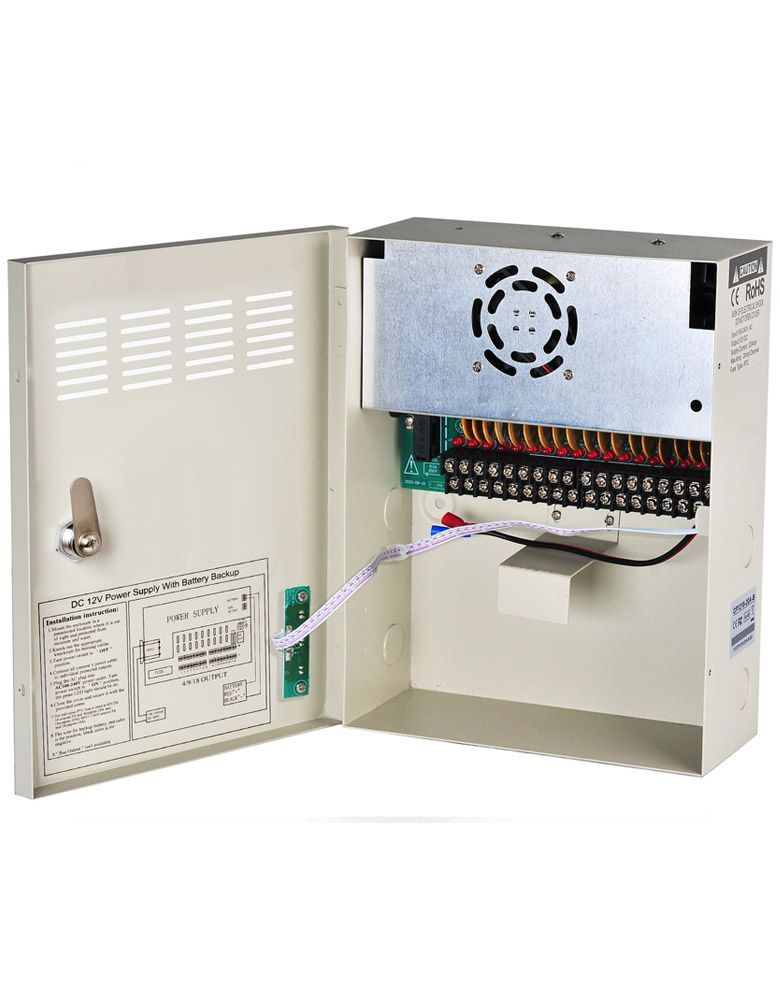 UPS Power Supply Box For Security Cameras DC 12V 20A 18 Channels Uninterruptable Power