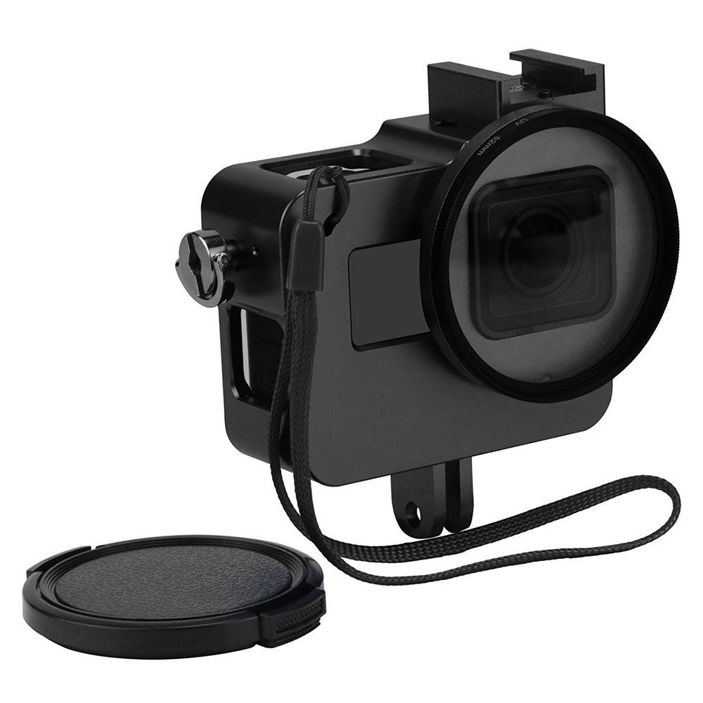 Снимать ЧПУ Алюминий сплав Защитный чехол для GoPro Hero 5 Black Клетки для камеры крепление с 52 мм УФ-объектив для GoPro Hero 5 аксессуар