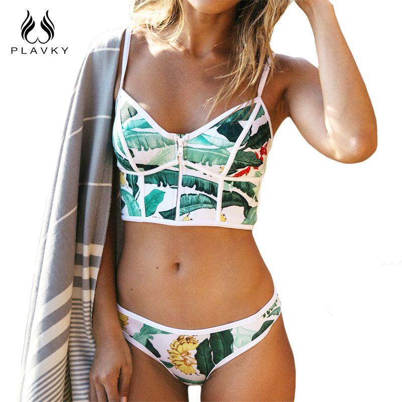 2017 Sexy Floral Biquini String Zipper Col Haut De Bain Maillot de bain Plus La Taille Maillots De Bain Femmes Bikini Brésilien Push Up Maillot de Bain