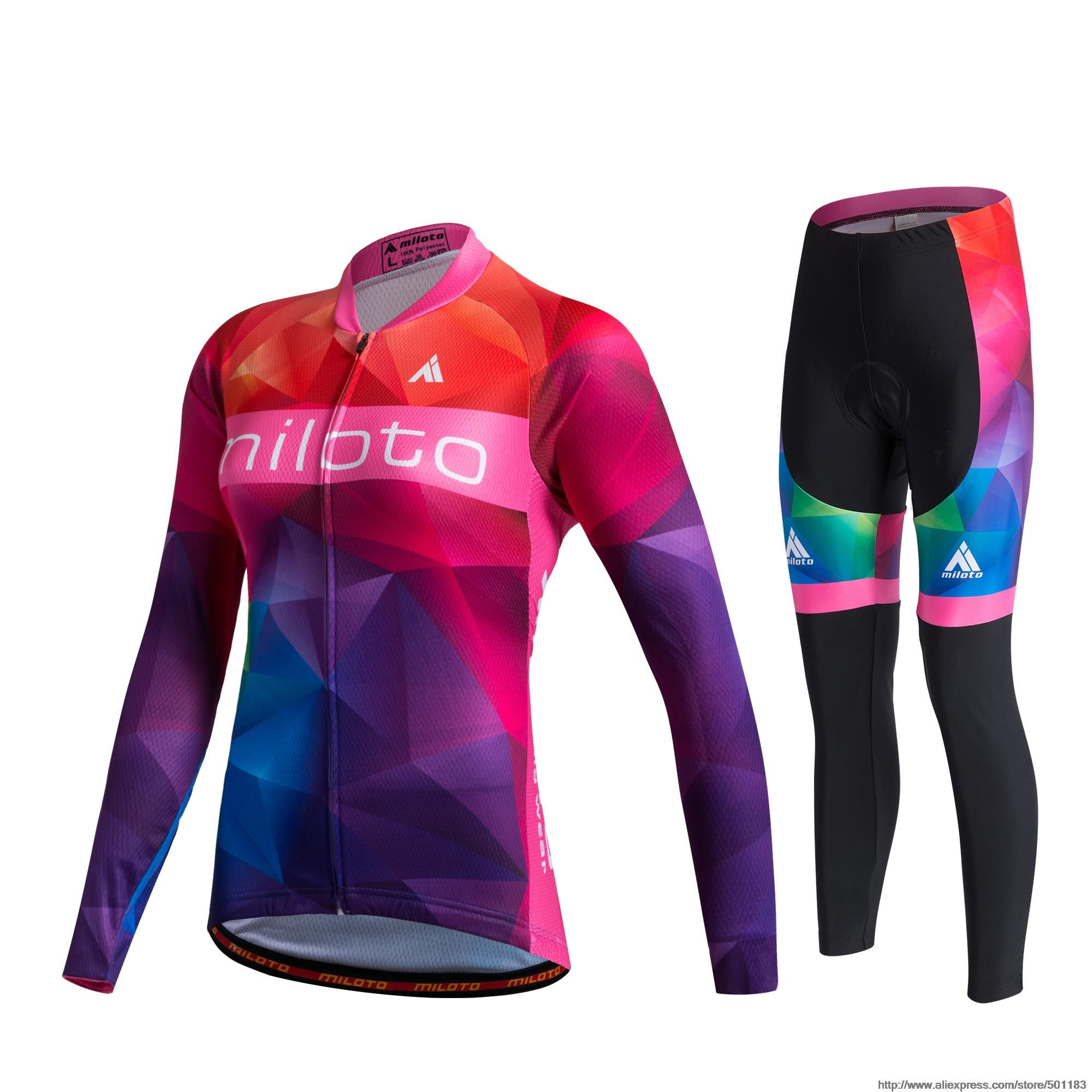 MILOTO Women Female Winter Thermal Fleece Cycling Jersey Trousers Ropa Ciclismo Shirt Pant Super Warm Long Sleeve Clothing